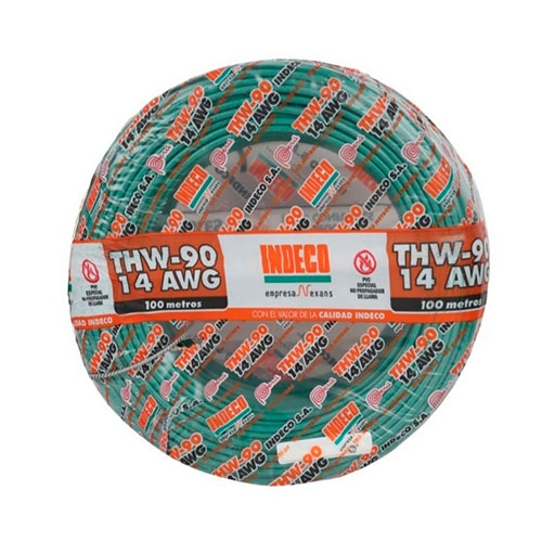 CABLE ELECTRICO THW-90 14 AWG X 100 M VERDE INDECO