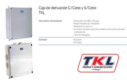 CAJA DE DERIVACION 150X110X70 PVC S/CONO TKL